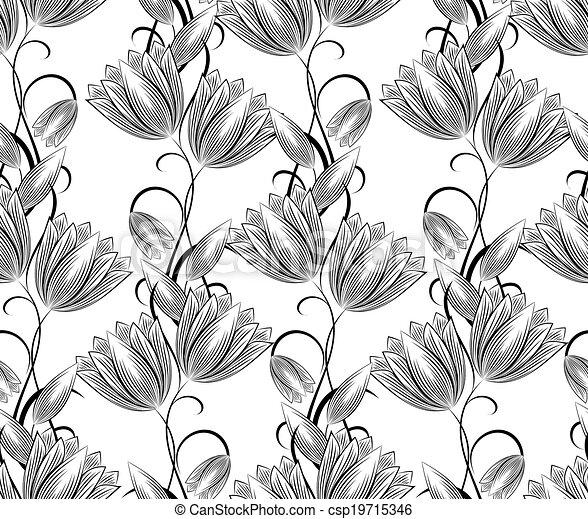 Damask seamless vector background  - csp19715346