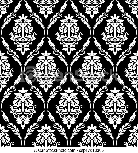Damask Style Design Of Floral Arabesques