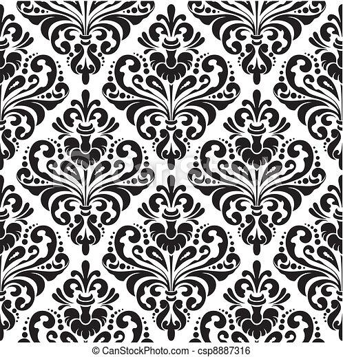 Black And White Seamless Damask Wallpaper Pattern Clip Art Vector