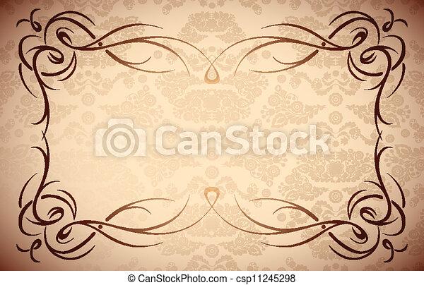 damassé, cadre, -, seamless, texture, élégant, vecteur, frontière florale,   - csp11245298