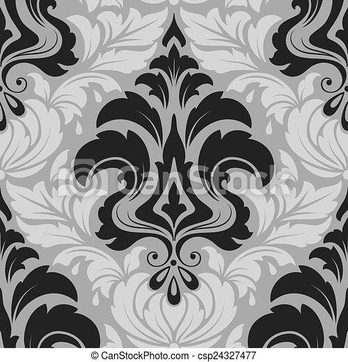 damassé, modèle, arrière-plans, seamless, texture, élégant, vecteur, luxe, papiers peints, fill., page, element. - csp24327477
