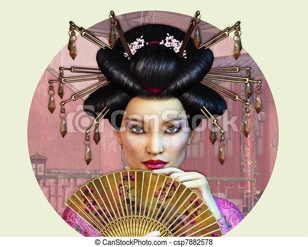 Dame, Asiatique Illustration De Stock