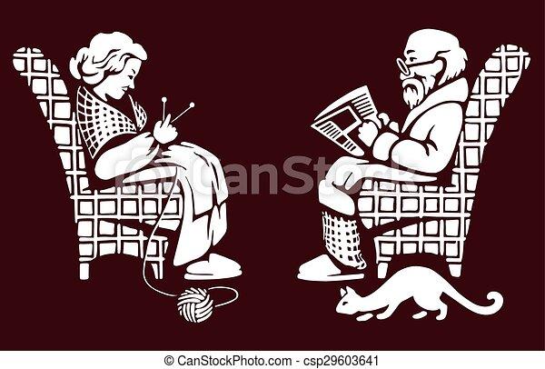 dame, vieux, avoir, repos, homme - csp29603641