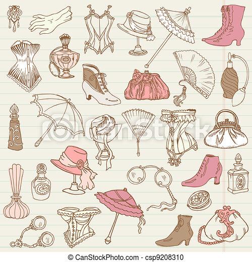 damen, mode, klotter, -, tillbehör, kollektion, hand, vektor, oavgjord - csp9208310