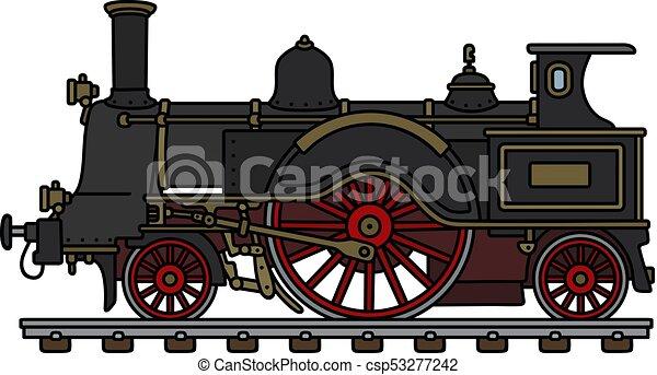 dampflokomotive, weinlese, schwarz - csp53277242