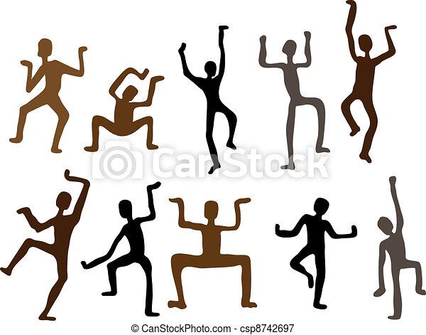 dança, abstratos, ilustração, men., vetorial, étnico - csp8742697