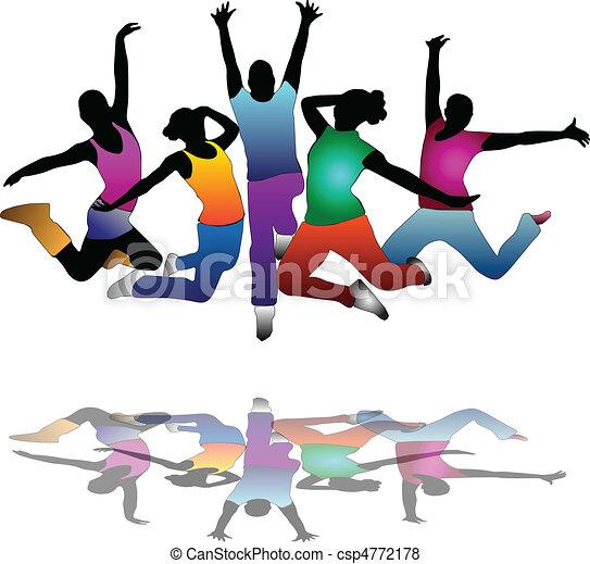 dança, jogo, grupo, voador, povos - csp4772178