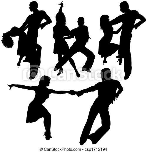 dança, silhuetas, latino - csp1712194