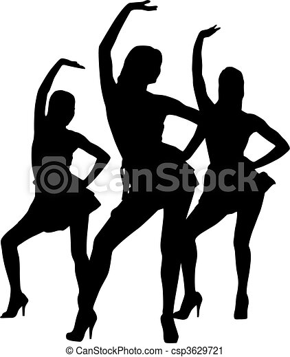 dança, silueta, mulheres - csp3629721