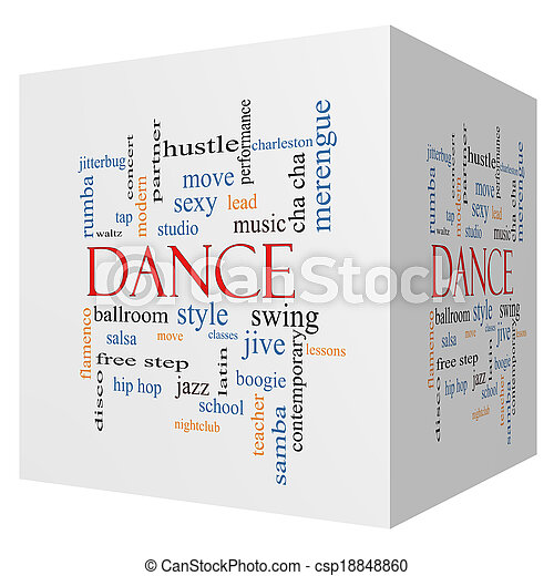 Dance 3d Cube Word Cloud Concept With Great Terms Such As Music