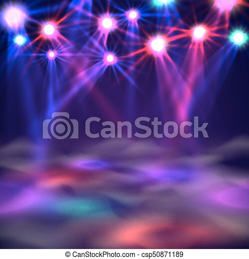 Dance floor banner, Light and smoke on stage. - csp50871189