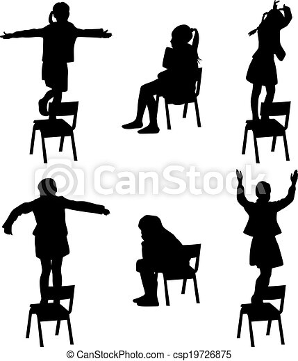Dance On The Chair Dance Kids On The Chair Silhouette Vector