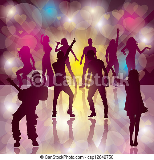 Dance party eps10 vector background with dancing people dance party csp12642750 sciox Choice Image