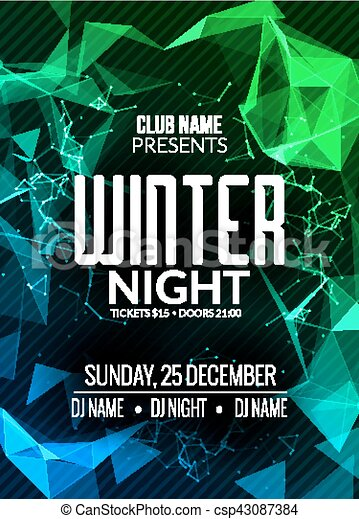 Dance Party Dj Battle Poster Design Winter Disco Party Music Event Flyer Or Banner Illustration Template