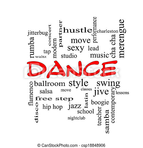 dance word cloud concept in red caps with great terms such as music