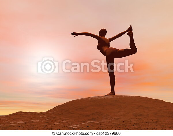 dancer pose natarajasana  3d render young woman doing