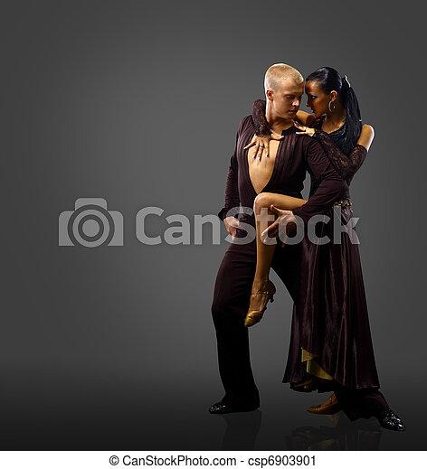 dancers against black background  - csp6903901