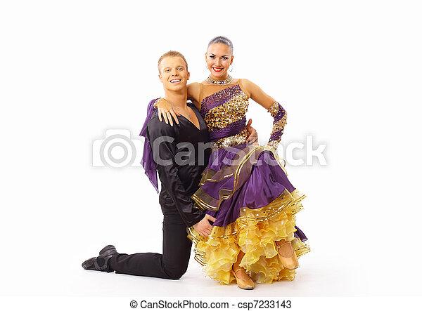 dancers against black background - csp7233143