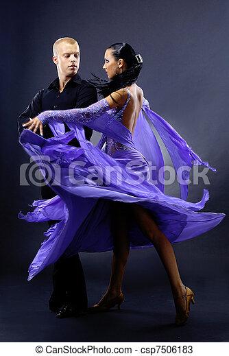 dancers against black background - csp7506183