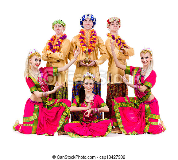 dancers dressed in Indian costumes posing - csp13427302