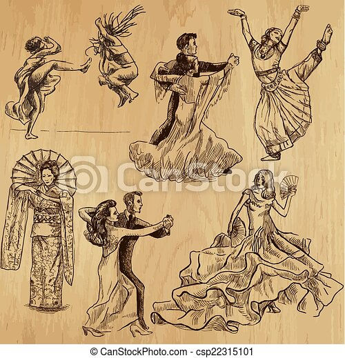 Dancers - hand drawn vector - csp22315101