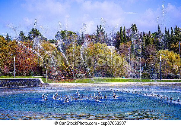 Dancing and singing fountains in the city park in France - csp87663307
