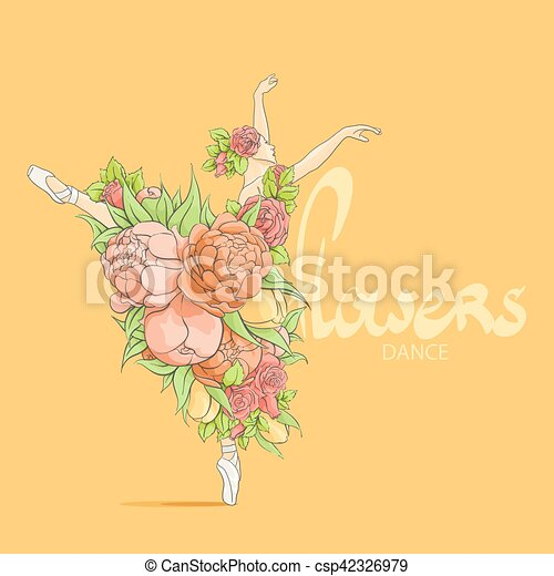 dancing ballerina in flowers - csp42326979