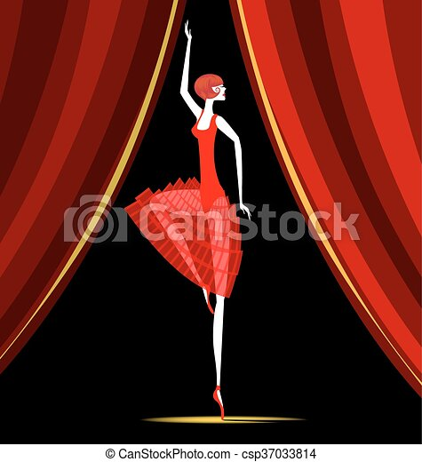 dancing ballerina in red - csp37033814