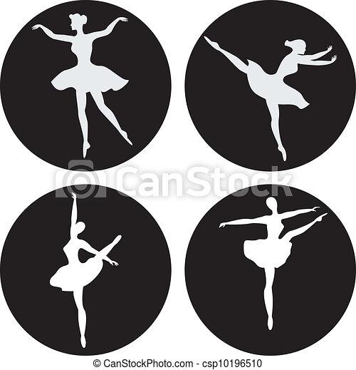 Dancing ballerina silhouettes - csp10196510