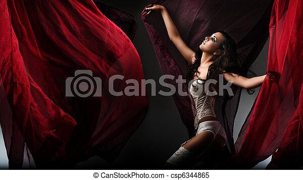 Dancing brunette beauty - csp6344865