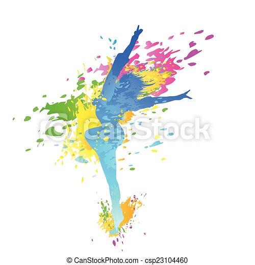 dancing colorful girl splash paint dance - csp23104460