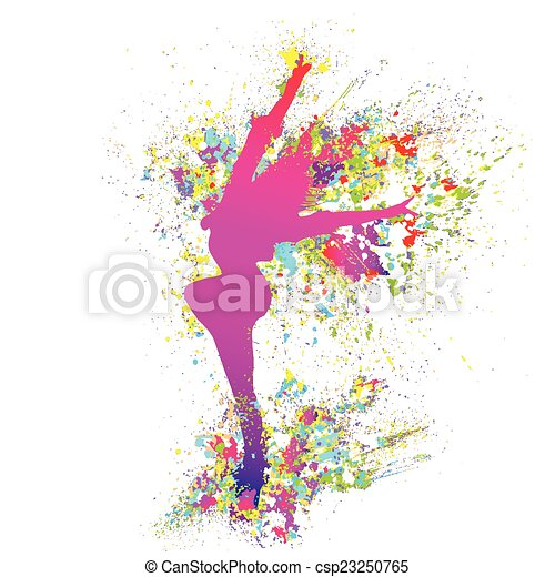 dancing colorful girl splash paint dance on white background. Vector - csp23250765