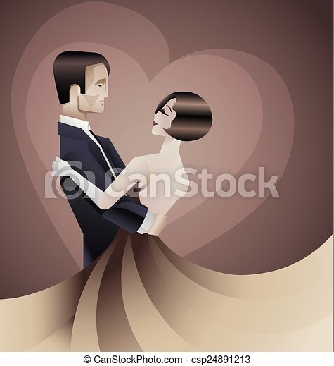 Dancing couple Art Deco geometric style poster - csp24891213