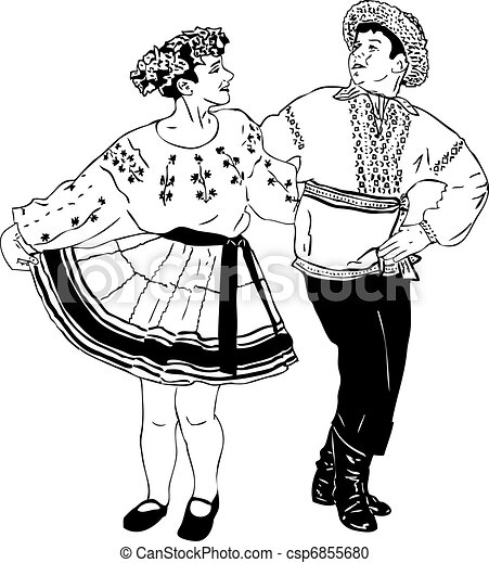 Black And White Picture Dancing Couple In Traditional Dress