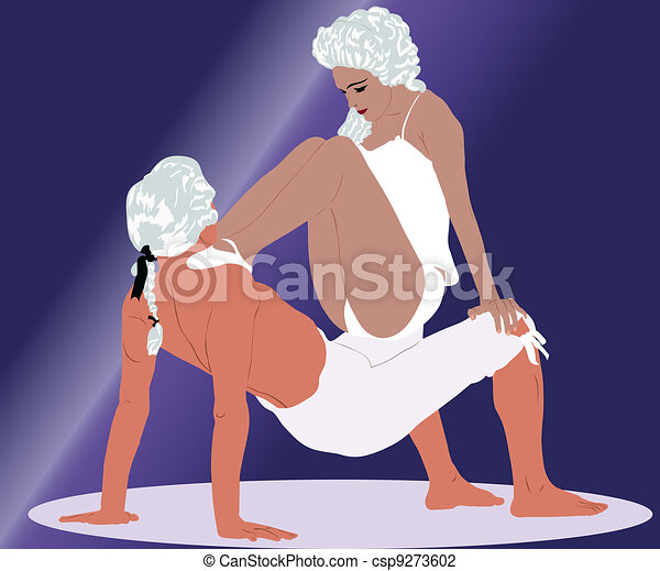 dancing couple in white wigs - csp9273602