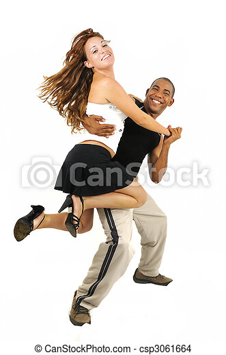 Dancing couple with latino instructor - csp3061664