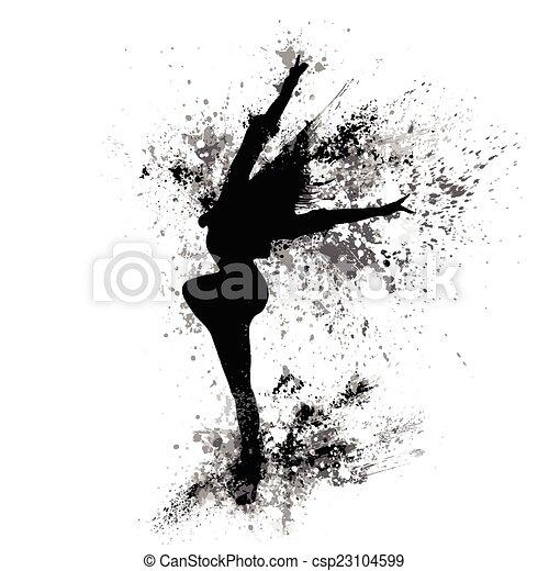 dancing girl black splash paint silhouette isolated white - csp23104599