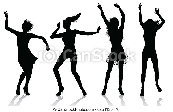 dancing girl silhouettes csp4130470