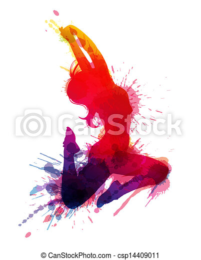 Dancing girl with grungy splashes - csp14409011