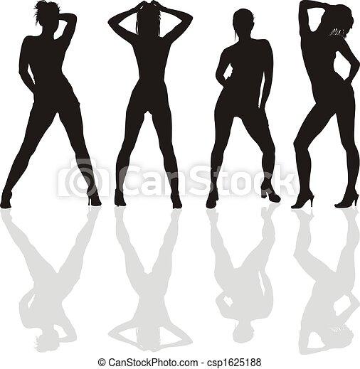 Dancing girls silhouettes - csp1625188