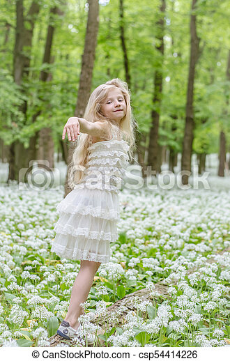 dancing in spring forest - csp54414226