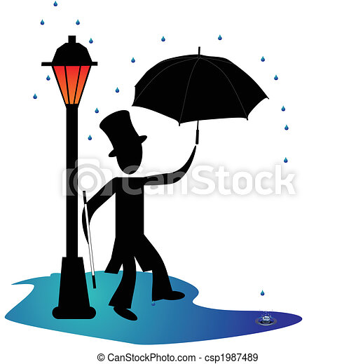 dancing in the rain man dancing in the rain by a gas light lamp rh canstockphoto com Swimming Clip Art Line Dancing Clip Art