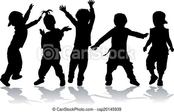 Dancing kids - black silhouettes. - csp20145939