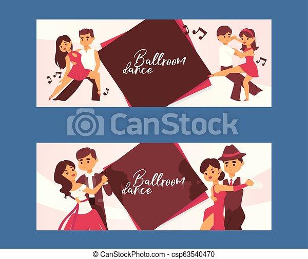 Dancing man and woman ballroom, sports dances. Tango, waltz, Latin American dances vector illustration. Dance studio. - csp63540470