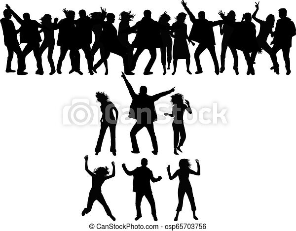 Dancing people silhouettes. - csp65703756