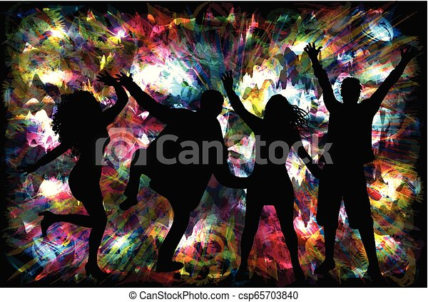Dancing people silhouettes - csp65703840