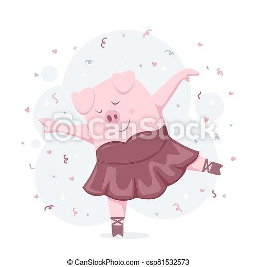 Dancing Piggy Ballerina - csp81532573