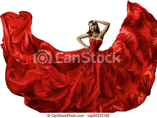 Dancing woman in red dress fashion model dance in silk ball dancing woman in red dress fashion model dance in silk ball gown waving flowing fabric stock photo sciox Choice Image