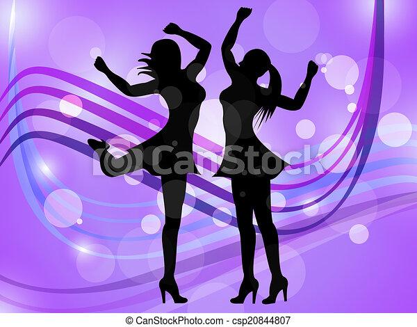 Dancing women represents disco music and adult. Dancing ...