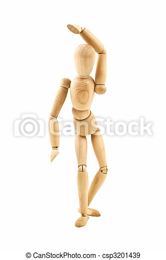 Dancing wooden dummy isolated - csp3201439